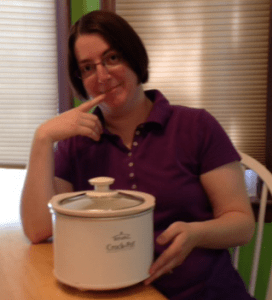 Heidi with the mini-crock pot