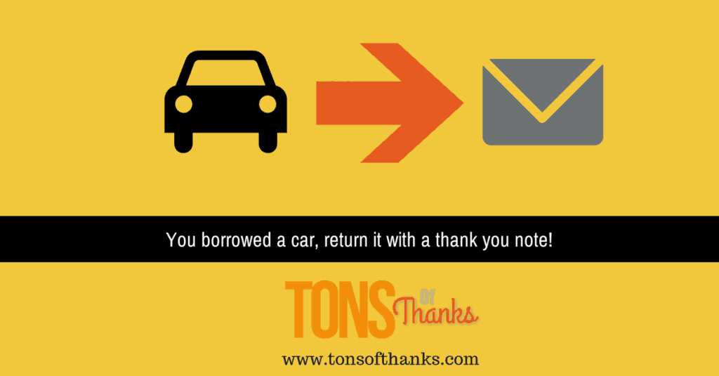 Thank you note for borrowed car