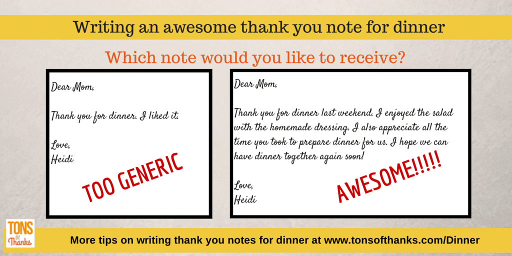 Write An Awesome Thank You Note For Dinner