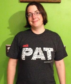 Heidi wearing her Ask Pat T-Shirt