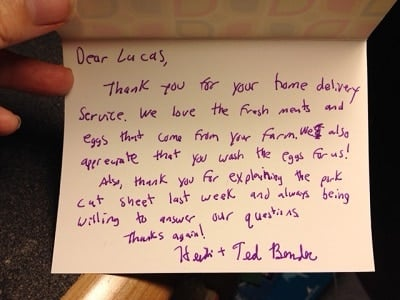 Heidi's Thank you note to her farmer