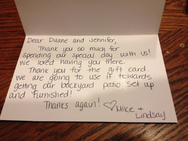 Wedding Thank You Note Example