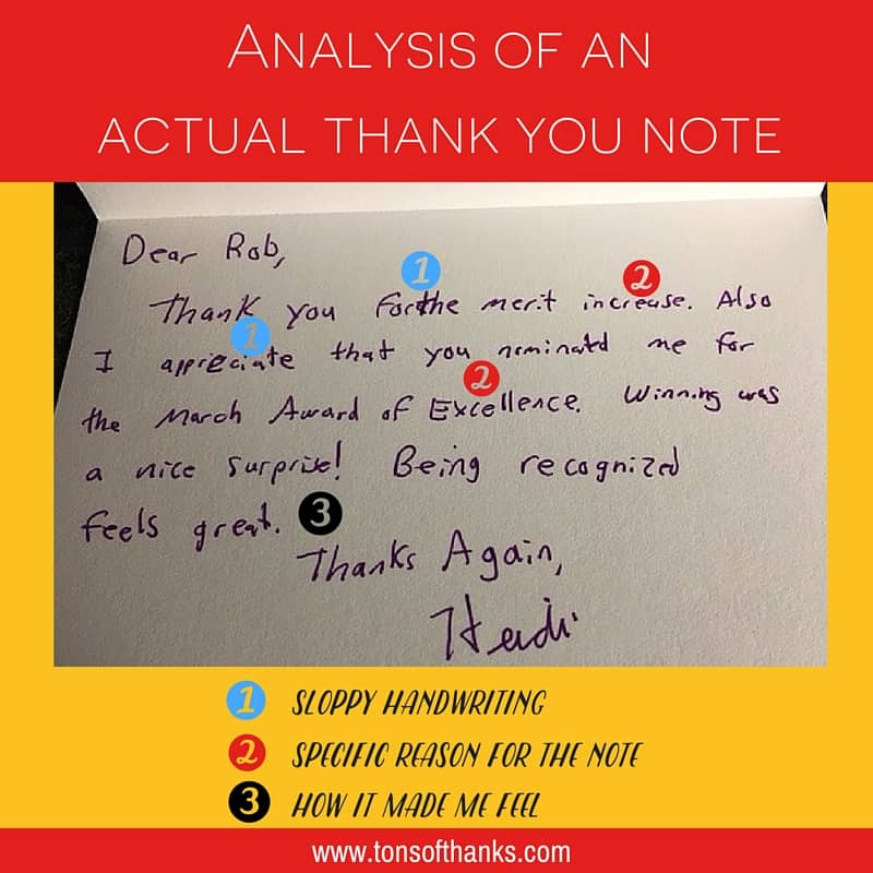 Analysis of an actual thank you note